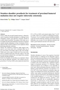 Ballas - Stemless shoulder prosthesis for treatment of proximal humeral malunion does not require tuberosity osteotomy
