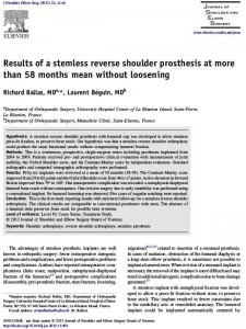 Results of a stemless reverse shoulder prosthesis, results at more than 58 months mean without loosening Dr Ballas