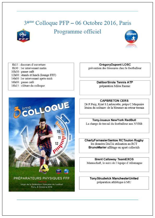 3ème Colloque Préparateurs  Physiques du Football Professionnel – 06 Octobre 2016 – Paris – FFF