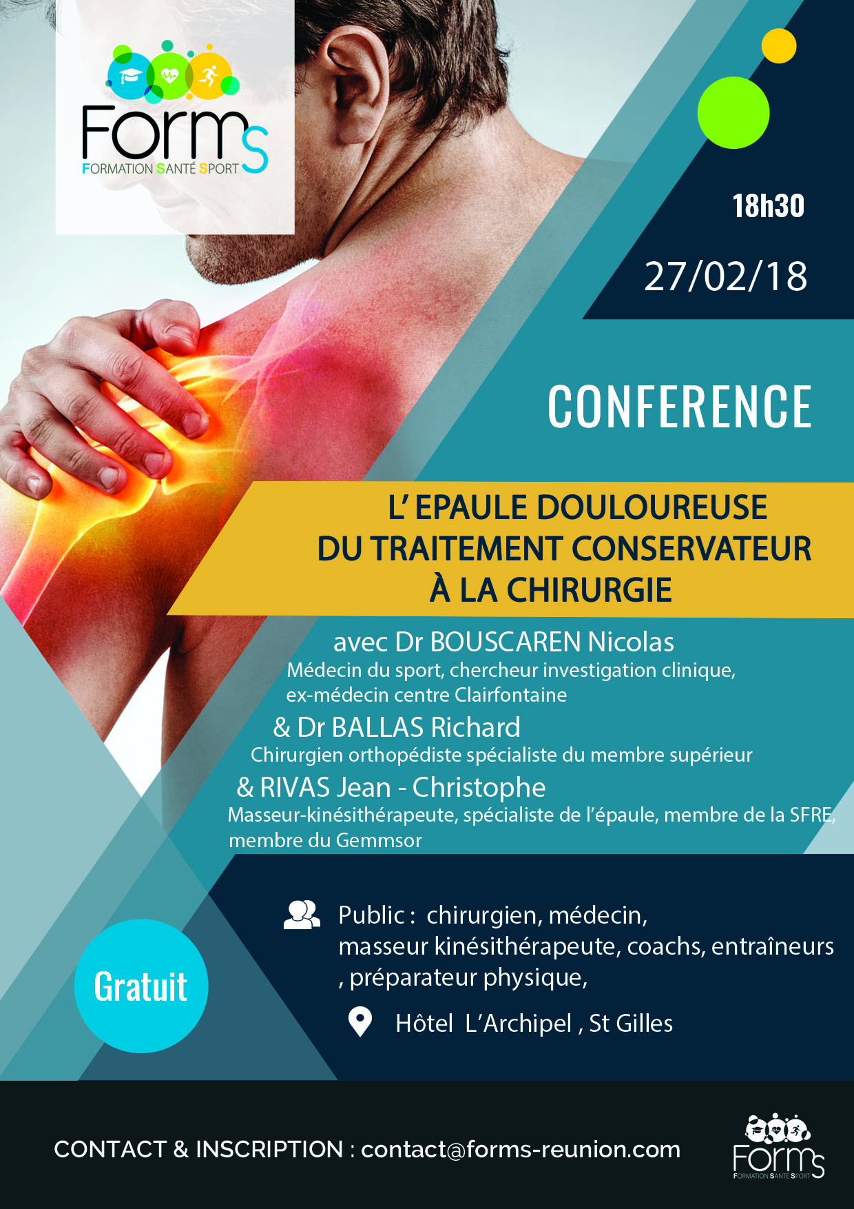 """Conférence 27 février """"Epaule : Du traitement conservateur à la chirurgie"""""""